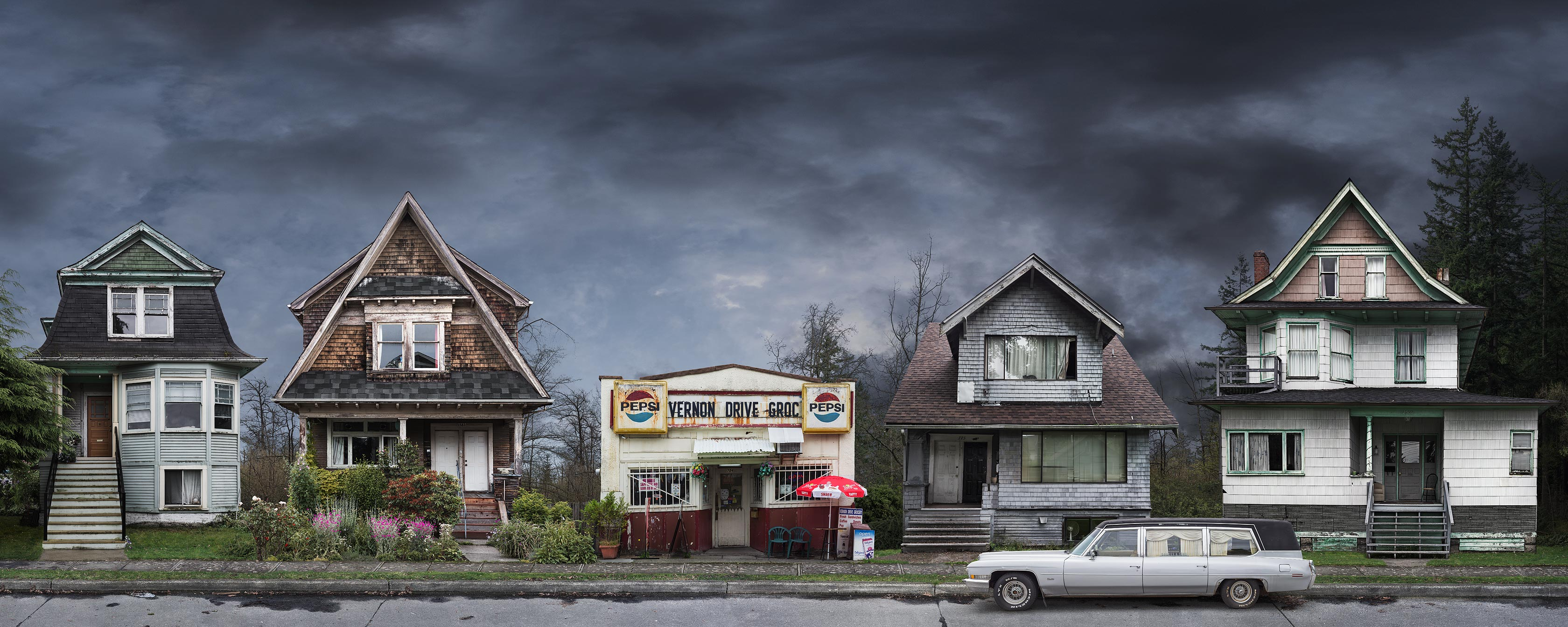 <p align=center><em>East Van Relics</em> <br />30″ x 75″, archival print backmounted to aluminum, edition of 5<br /> 18″ x 45″, archival print backmounted to aluminum, edition of 7</p>